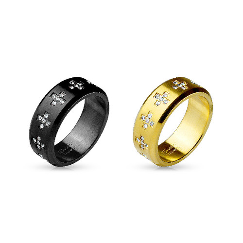 Gold IP Stainless Steel Rings with CZ Gem Set Crosses