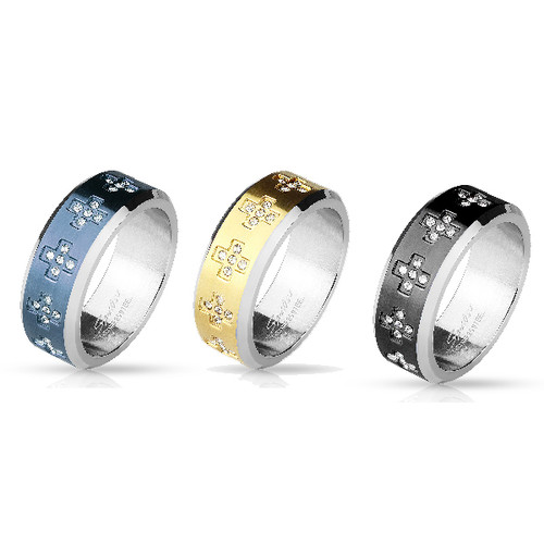 Gold Ion Plated Stainless Steel Ring with CZ Gem Cross