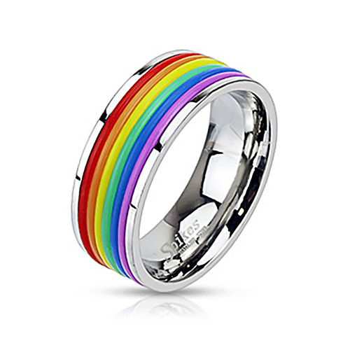 Pride Rainbow Rubber Striped Stainless Steel Band Ring