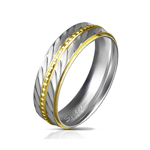 Gold Ion Plated Stainless Steel Rings with Ball Chain Center