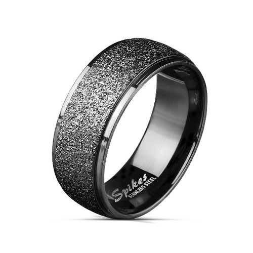 Black IP Stainless Steel Rings with Sand Blast Center