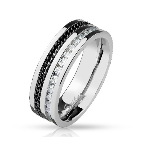 Stainless Steel Ring Lined with Black Chain and CZ Gems