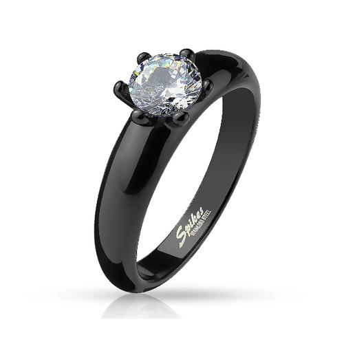 Black Stainless Steel Engagement Ring with Set CZ Gem