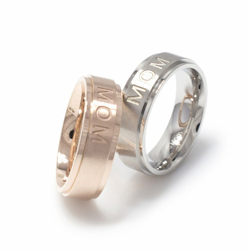 MOM engraved Stainless Steel Brushed Finish Ring