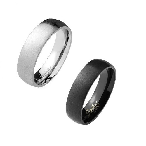 Brushed Finish Solid Titanium Ring with Glossy Interior