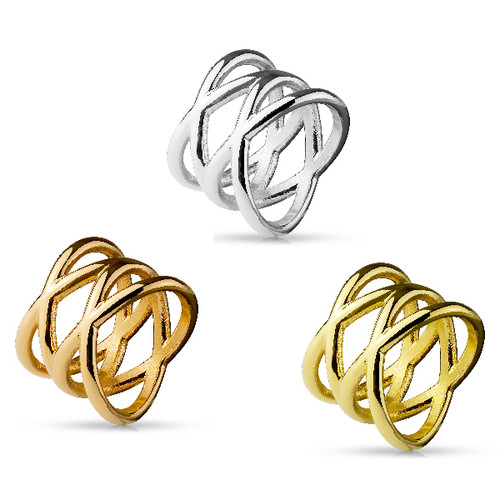 Double X Design Ion Plated Stainless Steel Rings - Sold Seperately
