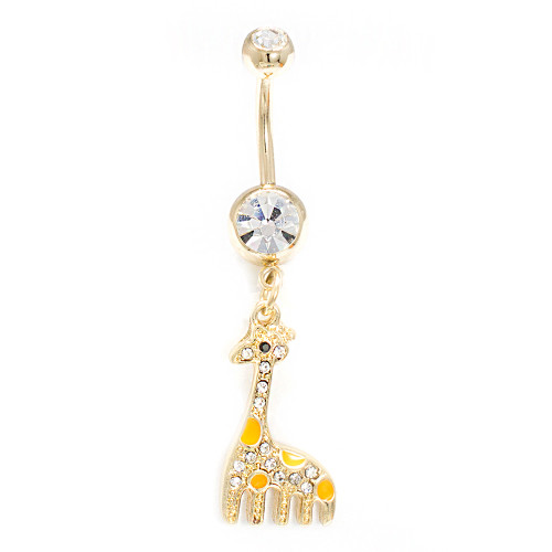 Dangle Gold IP Giraffe Clear CZ Gem Belly Button Ring 14ga