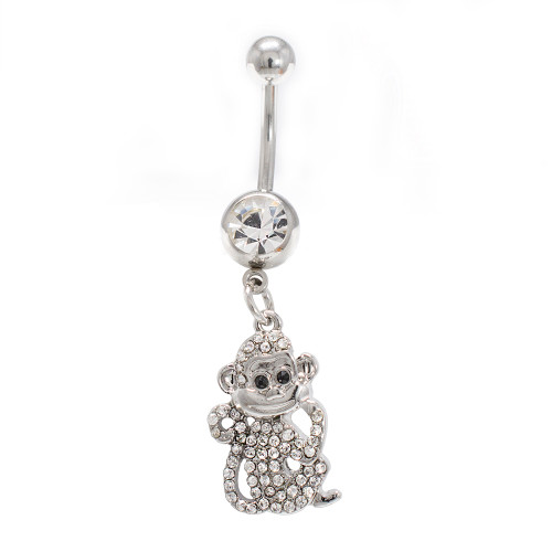 Belly Button Ring  Monkey Dangle Design with  Clear CZ Gems 14G