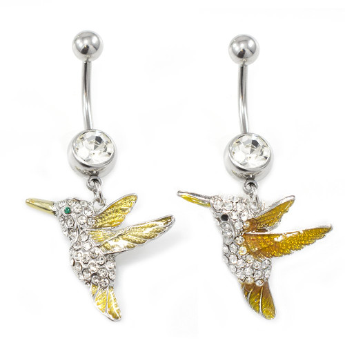 Humming Bird Design Dangle Belly Button Ring with Clear CZ Gems  14G