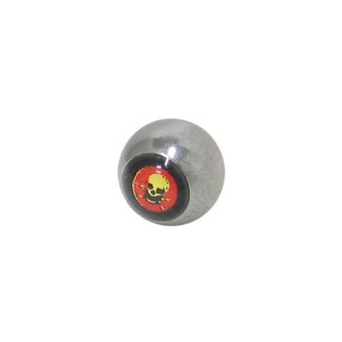 Replacement Bead Surgical Steel Threaded with Skull Logo