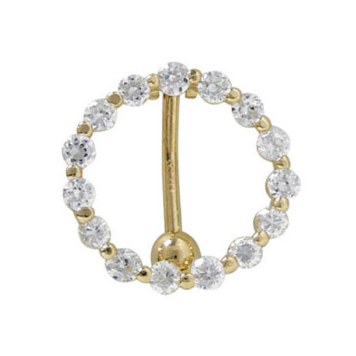 14 gauge Reverse Belly Button Ring Solid 14k Gold with Cubic Zirconia