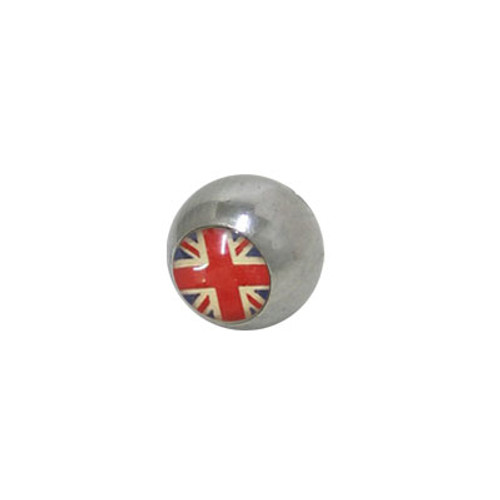 Replacement Bead Surgical Steel Threaded with British Flag Logo
