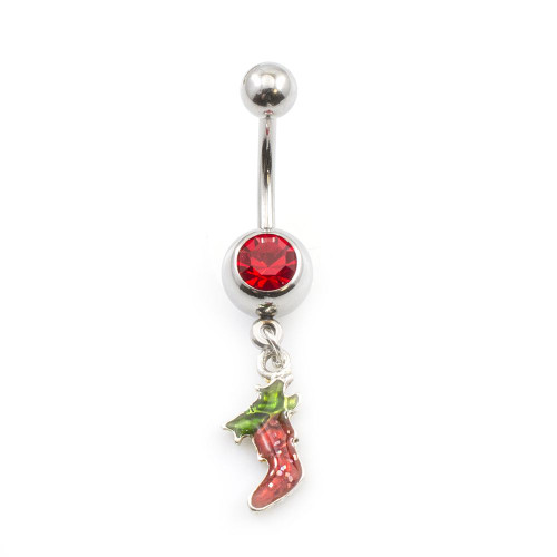 Red Stocking Jeweled Navel Ring