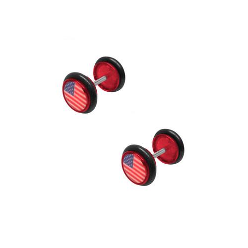 Red Acrylic 16 Gauge US Flag Logo Ear Plug