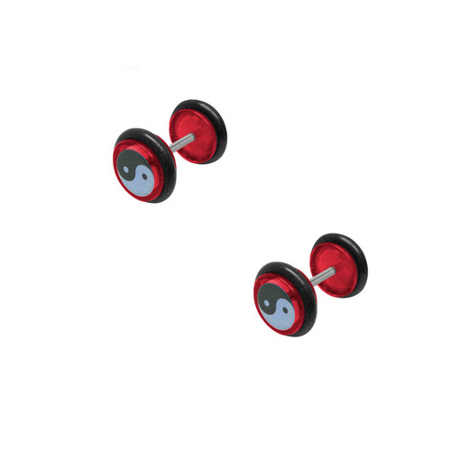 Red Acrylic 16 Gauge Ying Yang Logo Ear Plug