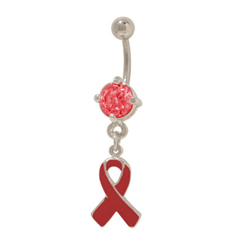 14 gauge Red Ribbon Aids Awareness Belly Ring with Prong Set Jewel