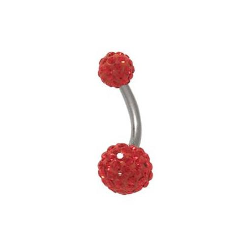 14 gauge Red Swarovski Crystal Ferido Belly Button Ring