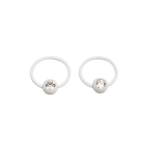 Pair of White Nipple Captive Bead Rings with CZ 16ga