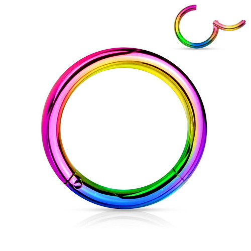 Steel Multicolor Hinged Clicker Segment Septum Lip Nose Hoop Ring Helix Daith Cartilage Tragus 20G-18G-16G-14G-12G-10G all Lengths Available