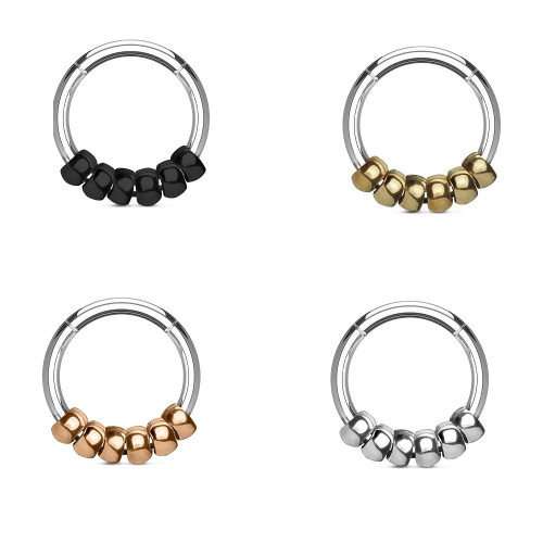 316L Surgical Steel Hinged Segment Hoop Rings with Steel beads 16G