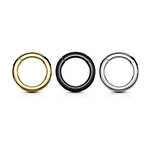 Hinged Clicker Segment Rings  Surgical Steel 8 Gauge- 4 Gauge Sold Each