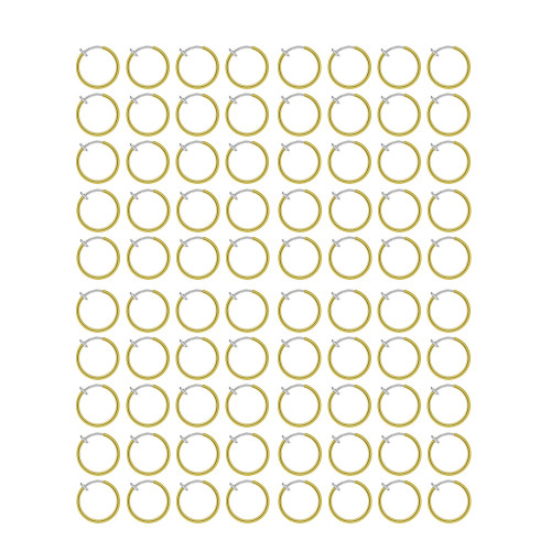 200 Rhodium Plated Non-Piercing Gold Color Spring Hoops (10mm) - Out of Stock