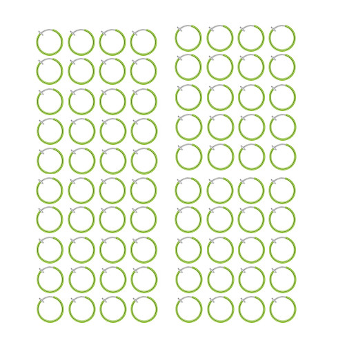 200 Rhodium Plated Non-Piercing Green Spring Hoops (8mm)