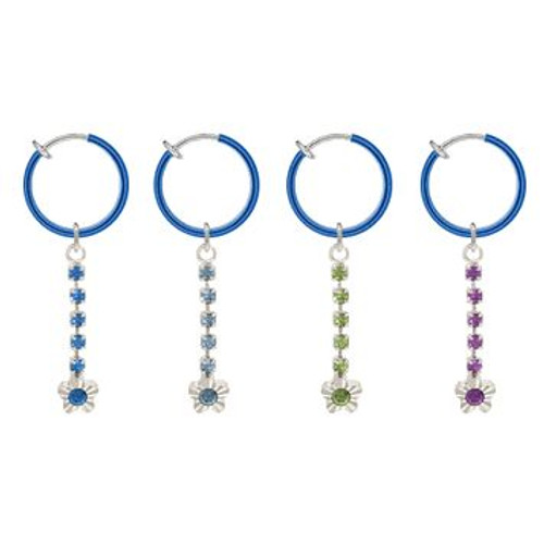 Rhodium Plated Blue Non-Piercing Dangling Flower Spring Hoop Belly Clip