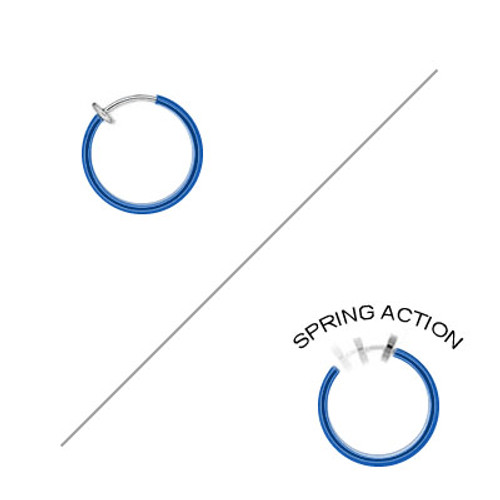 Rhodium Plated Blue Non-Piercing Spring Hoop