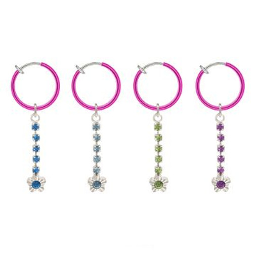 Rhodium Plated Fuchsia Non-Piercing Dangling Flower Spring Hoop Belly Clip