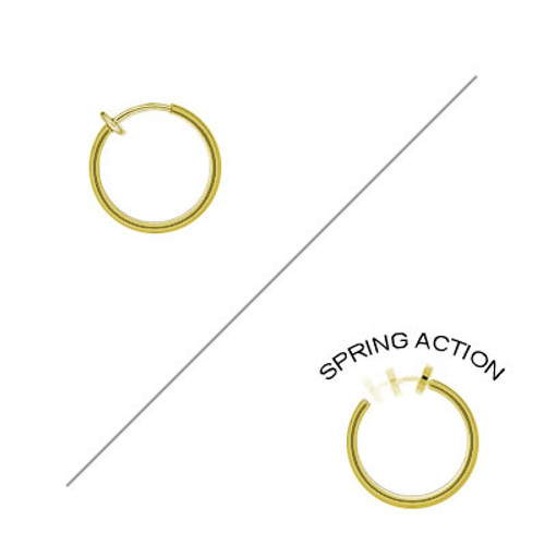 Rhodium Plated Gold Color Non-Piercing Spring Hoop