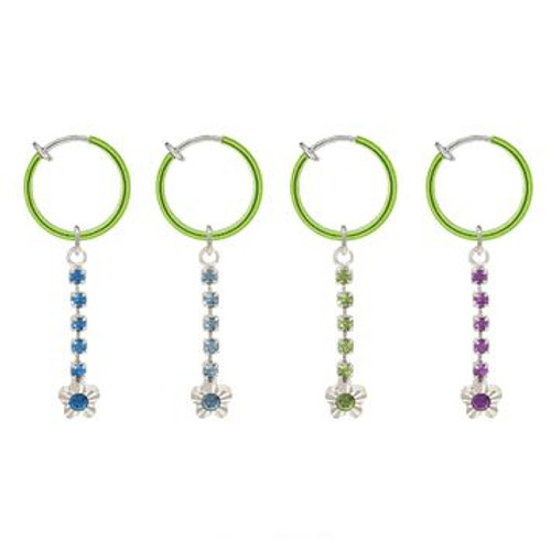 Rhodium Plated Green Non-Piercing Dangling Flower Spring Hoop Belly Clip