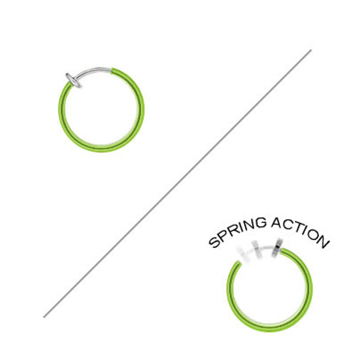 Rhodium Plated Green Non-Piercing Spring Hoop