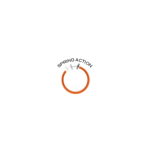 Rhodium Plated Orange Non-Piercing Dangling Flower Spring Hoop Belly Clip
