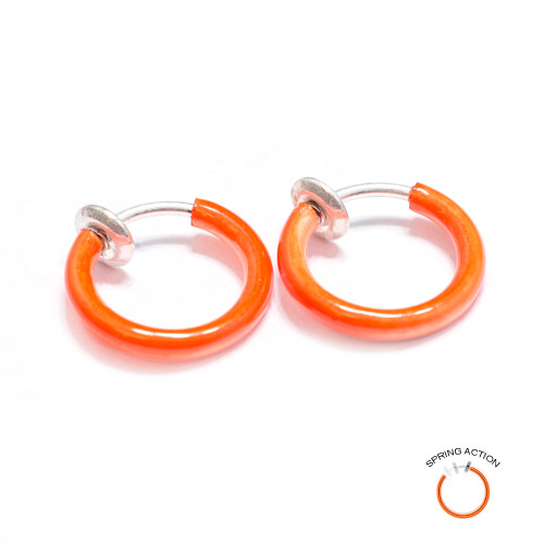 Pair of Rhodium Plated Orange Non-Piercing Spring Hoop