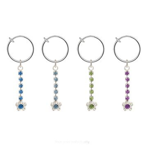 Rhodium Plated Silver Color Non-Piercing Dangling Flower Spring Hoop Belly Clip