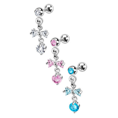 Dangle Ribbon with Hanging Orb Cartilage/Tragus Barbell Earring