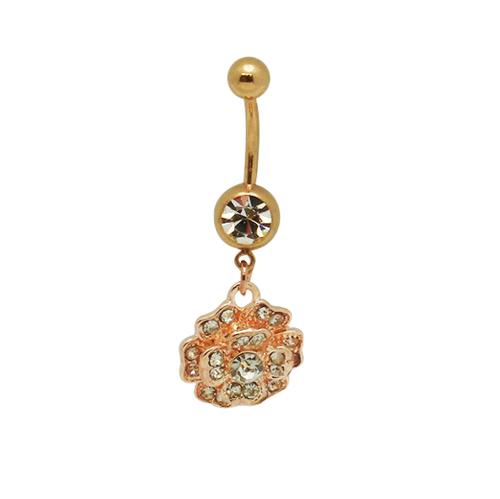 Gold Color Dangle Flower 14 gauge Belly Ring