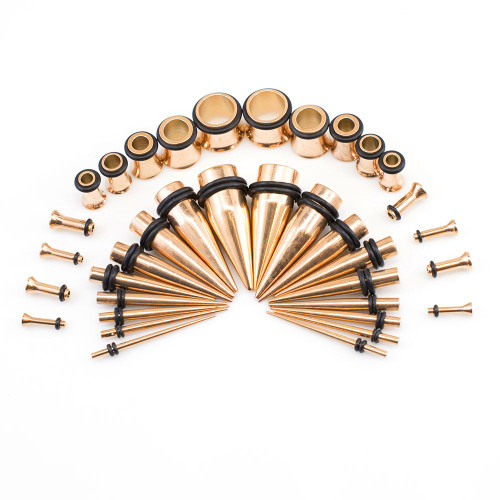 Stainless Ear Stretching Kit Plugs & Tapers Set 36pc Gauges 14g-00g Rose Gold