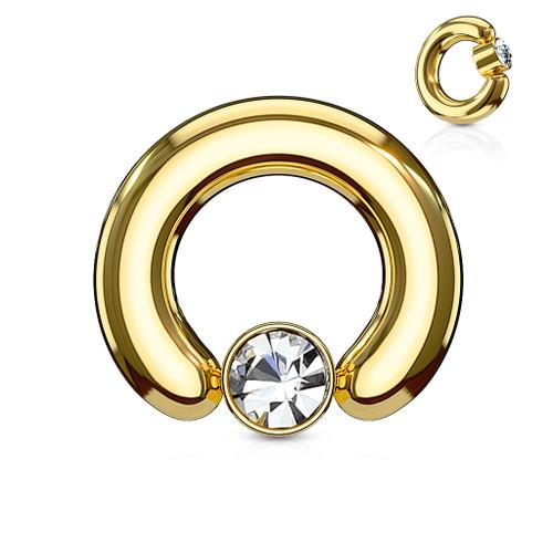 Crystal Set Round Cylinder Large Gauge Captive Ring IP Gold