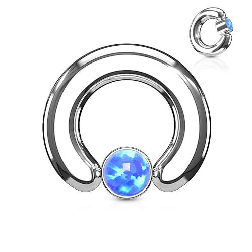 Round Flat Cylinder Large Gauge Opal Captive Ring-Blue-6 Sizes to Choose