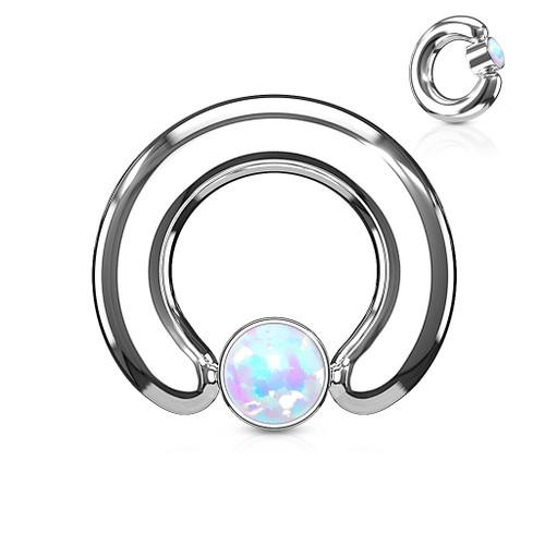 Round Flat Cylinder Large Gauge Opal Captive Ring