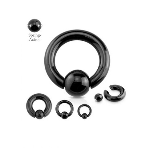 Black IP Spring Action Easy Pop Out Captive Bead Ring 316L Surgical Steel (0 -00g)