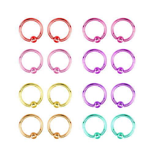 Titanium 14ga Captive Bead Ring Multi-Packs 4 Pieces