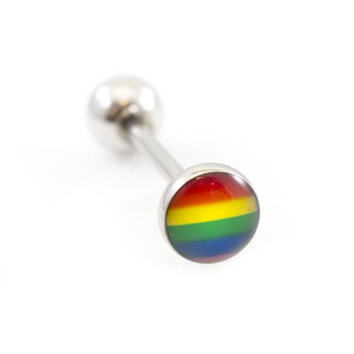 LGBT Flag Design Tongue Barbell 14ga 316L