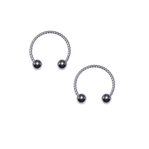 Pair of Circular Horseshoe 18G Rope Design Surgical Steel