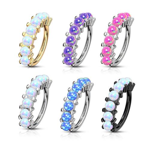 Bendable Hoop with 7 Opalite Lined Set Design- Cartilage & Nose 20ga 18ga 16ga Sold Each