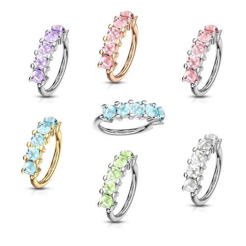Luxe Modz Bendable Hoop with 5 Illuminating Stones Lined Set Design- Cartilage & Nose 20ga 18ga 16ga Sold Each