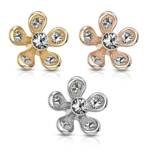 Micro Paved with CZ Flower Design Dermal Top Surgical Steel 14ga