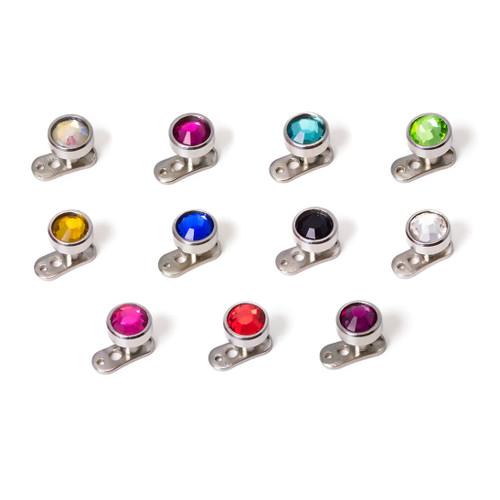 Dermal Piercing Jewelry 316 Surgical Steel Multi-Color Gems - Sold Each